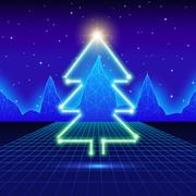 Christmas card with 80s neon tree - stock illustration