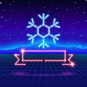 Christmas card with 80s neon snowflake and ribbon Stock Illustration