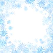 Rectangular frame with small blue snowflakes Stock Illustration