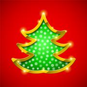 Christmas tree card with golden border - stock illustration