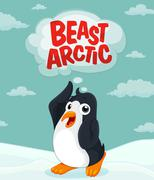 Penguin at the arctic ground Stock Illustration