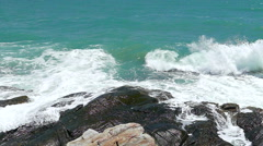 Slow motion of Beautiful nature seascape with the wave into the rock Stock Footage