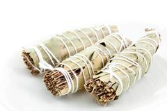 three dry bouquets garni cotton knotted - stock photo