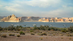 Painted Desert Lake Pan Stock Footage