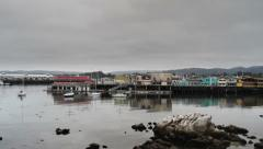 Monterey Bay Fishermans Wharf Pan Left Stock Footage
