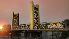 Golden Bridge at Sunset Stock Footage