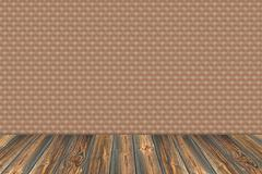 stone wall background with wooden slats floor - stock photo