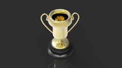 3D Trophy dark background - stock footage