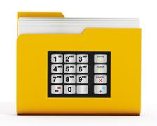 ATM keypad on folder icon with documents Stock Illustration