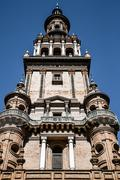 The Giralda, bell tower of the Cathedral of Seville in Seville, Andalusia, Sp - stock photo
