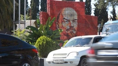 Russia. Sochi - 2012: HD V Road and Mosaic Lenin - stock footage
