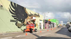Artist in action Wynwood Miami Stock Footage