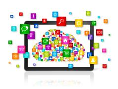 Cloud computing symbol in Digital Tablet pc - stock illustration