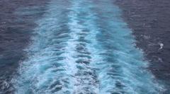 Wake behind cruise ship beautiful Caribbean Ocean 4K Stock Footage