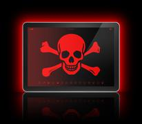 Digital tablet with a pirate symbol on screen. Hacking concept Piirros