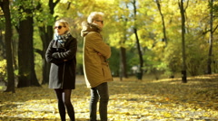Offended couple standing in the park and not talking with each other Stock Footage