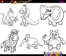 wild animals set coloring page - stock illustration
