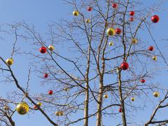 Christmas balls on a bare tree Stock Photos