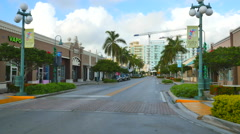 Downtown Hollywood FL with gimbal Stock Footage