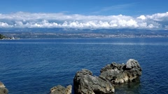 Beautiful pan along Rijeka, Croatia Stock Footage