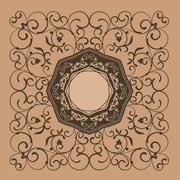 Floral elegant vintage label decor Stock Illustration