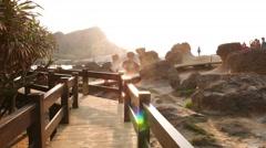 POV walk to stunning Hoodoo stones field, Mushroom rocks, Yehliu Stock Footage
