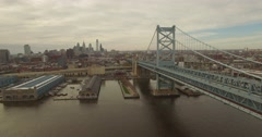 Aerial Drone Footage of Benjamin Franklin Bridge in Philadelphia Stock Footage