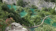 Beautiful Waterfalls at Plitvice National Park, Croatia Stock Footage