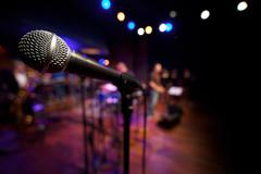 Microphone on Music Stage - stock photo