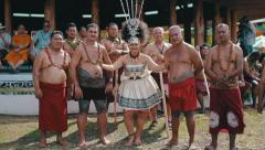 Samoan Taupou and Village Chiefs - stock footage