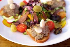 Fresh meat pate on toast with salad - stock photo