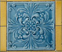 Blue Wall Tile with Floral Pattern Stock Photos