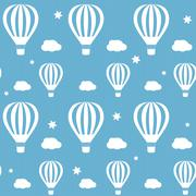 Vector seamless pattern whith white hot air balloons on the blue sky Stock Illustration