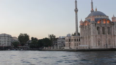 Ortakoy Mosque at Dusk Stock Footage