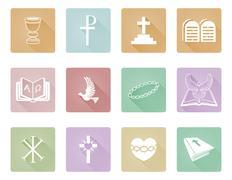 Religious Christian Icons - stock illustration