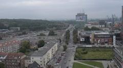 Gdansk, Poland, bird-eye view Stock Footage