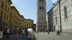 People walking next to the Dome in Florence Stock Footage