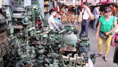 Famous Panjiayuan Flea Market - one best antiques market in China, Beijing Stock Footage