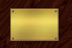 Golden plate on wood Stock Illustration
