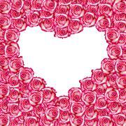 Heart shaped rose frame - stock illustration