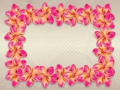 Stock Illustration of Pink plumeria flowers frame