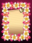 Stock Illustration of Plumeria flowers frame with paper