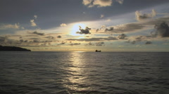 A Lone Boat at Sea Stock Footage