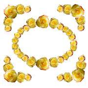 Yellow roses frame Stock Illustration
