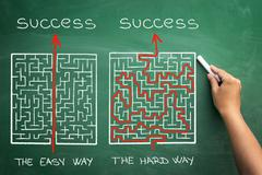 hard and easy way illustrated shown by maze - stock photo