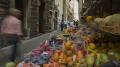 Fruit stall in downtown Florence Stock Footage