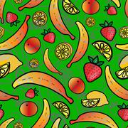 Bright seamless wallpaper with fruits - stock illustration