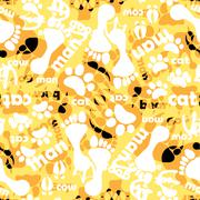seamless pattern with footprints and bones - stock illustration