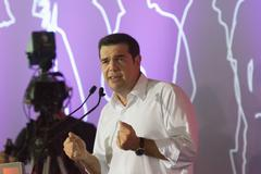 Portrait of Alexis Tsipras in his last public speech before the Greek elections. Stock Photos