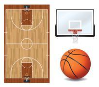 Basketball Design Elements Illustration - stock illustration